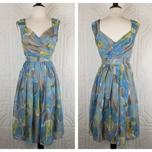Adrianna Papell Gray Blue Floral Casual Dress